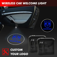 2xWireless Car Door Logo Welcome Projector Ghost Shadow Led Light For Dodge Blue