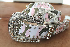Womens Camo Pink Gun Belt Crystals Hunt Bow XL Studs Guns Pistol Fashion Jeans