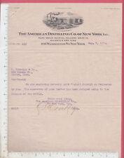 B194 American Distilling Co of New York letterhead V. Bonzagni, Boston Pekin, IL