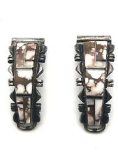 Navajo Charlie Bowie Sterling Silver Wild Horse Magnesite & Opal Watch Ends/Tips