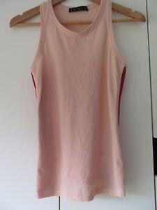 LAAIN UK Designer Sportwear Sz 12 Blush Pink & Red Pilates/Gym/Yoga Top BNWOTGS