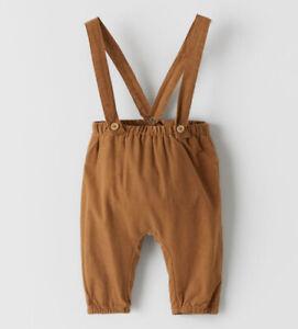ZARA Baby Boy Needlocord Trousers With Braces In Caramel Size 9-12 Months BNWT