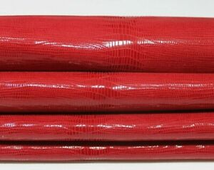 RED SHINY REPTILE print textured Lamb Lambskin leather skins hides 5sqf 0.8mm