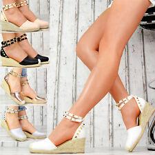 Neu Damenschuhe Plateau Wedges Sandalen Nieten Riemchen Keilabsatz Party Schuhe