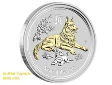 2018 Australia Lunar Year DOG GILDED 1oz SIlver $1 Coin in capsule with coa only