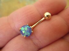 Blue Faux Opal Gold Titanium Plated Belly Button Navel Ring Body Jewelry