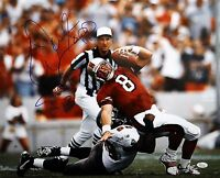 Warren Sapp HOF Autographed 16x20 Sacking Young Photo- JSA Authenticated