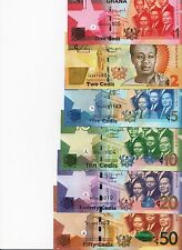GHANA Banknotes Set, 6 UNC 1, 2, 5, 10, 20,50 CEDIS, 2015 Series P NEW all UNC