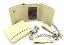 Trifold Beige Genuine Leather Scale Texture Snap Button Compact Wallet w/ Chain