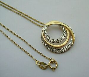 "GORGEOUS CIRCULAR GOLD ON STERLING SILVER REAL DIAMOND PENDANT ON FINE 18"" CHAIN"