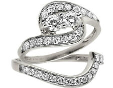 14K White Gold Forever Us 2 Stone Real Diamond Engagement Bridal Ring Set 1ct