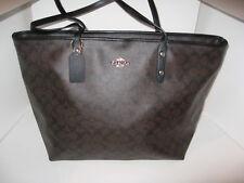 Coach F14929 Large Signature Brown Black Leather City Zip Tote Shoulder Bag $395