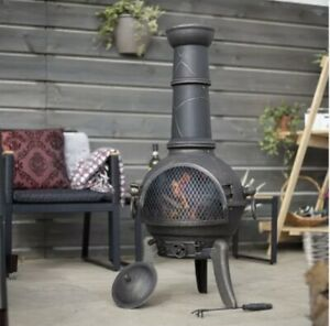 Large Cast Iron Chimenea: Cuba Log Burner, Patio Heater, Garden Fire Pit BBQ 🔥