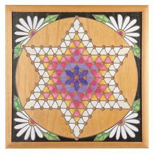 Chinese Checkers Set - Floral Decorative Hand-Painted Wood Board Game, Wall Art