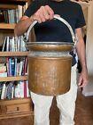 Antique Copper Clad Milk Bucket Pail French Fleur De Lis Handle Mounts 10 Liters