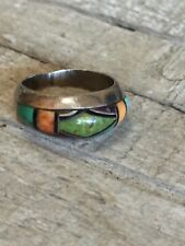 Vintage Pete Sanchez Multi-Gemstone Inlay Sterling Silver Ring Size 6.5