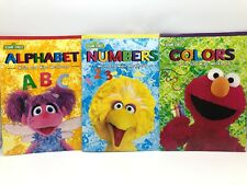 3 Sesame Street Write On Wipe Off Children Books Fun With Colors Numbers Letters