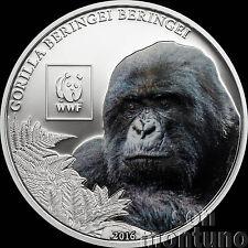 2016 Tanzania - MOUNTAIN GORILLA  Colorized Silver Plated COPPER Coin WWF Africa
