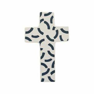 1pce Curva Ceramic Crucifix Cross 10x16cm White & Navy Christian Wall Art Décor