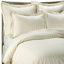 CLASSIC STRIPE 500 THREAD COUNT EGYPTIAN COTTON KING BED SIZE FLAT SHEET CREAM