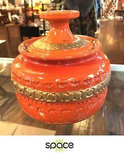 VINTAGE ORANGE & GOLD BITOSSI ALDO LONDI ITALY POTTERY JAR W/ LID - MID-CENTURY