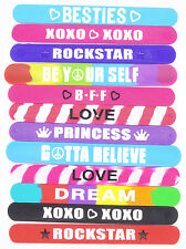 12 New Mixed Assorted Silicone Slap Bracelets ( All 12 Are Different )