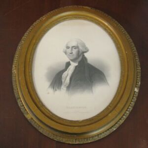 Antique 1860s Lithograph George Washington by LH Bradford Co with Original Frame
