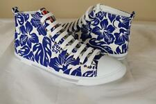 Prada White Blue Floral Hi Top Sneakers sz 40 10 New Trainer Shoe Canvas Leather