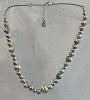 "Vintage Textured Gold & Silver Tone Graduated Elegant Bead Necklace 18"""