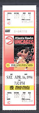 Atlanta Hawks vs Philadelphia 76ers April 16 1994 Unused Ticket