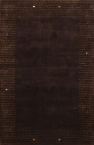 Gabbeh Bordered Oriental Area Rug Wool Hand-knotted 5x7 New Contemporary Carpet