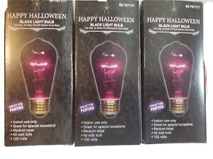 3 Black light Bulbs, indoor only, 120 Volt, 40 Watts, Fits E26 Medium Screw Base