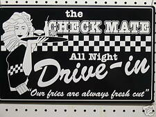 Checkmate Drive In Metal Tin Advertising Sign Black & White Fries Bugers