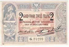 2 Frank  STAD  BRUGGE   1914      Noodgeld   WW I