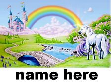 PERSONALISED LAMINATED A4  MAGICAL UNICORN AND CASTLE NOVELTY  PLACE MAT TABLE