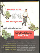 1956 BOLENS POWER-PAK COMBINATION UNIT / SNOW-PAK / MOW-PAK / TILL-PAK BROCHURE