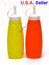 Ketchup & Mustard Dispensers Squeeze Bottle Condiment BBQ Set Picnic Sauce Caps
