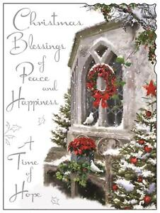 "Jonny Javelin Open Christmas Card - Church Window, Wreath & Trees 7.25"" x 5.5"""