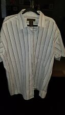 GEORGE FOREMAN 2X SHIRT BIG & TALL Blue Striped SHORT-SLEEVE BUTTON-UP CASUAL