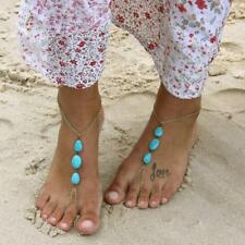 Bracelet Barefoot Beach Sandal Jewelry Turquoise Gold Metal Chain Anklet Ankle