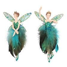 Gisela Graham Set of 2 Christmas Green Peacock Fairy Resin Tree Decorations12551