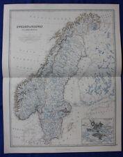 ORIGINALE Antico Vittoriano Mappa Scandinavia, SVEZIA, NORVEGIA W & un K Johnston, 1868