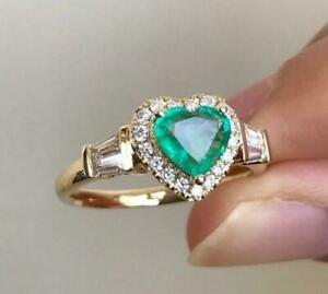 ❤️Ring Size S 9ct Gold Finish Diamonds Heart ❤️ Emerald Mother Gift Silver ❤️