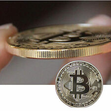 Gold Plated Physical Bitcoins Casascius Bit Coin BTC With Case Gift 40mm x 3mm