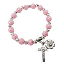 Pink Beads Catholic Rosary Bracelet for Women Rose & Cross Charms Christmas Gift