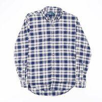 Vintage RALPH LAUREN Blue & White Checked Flannel Shirt Men's Size Small