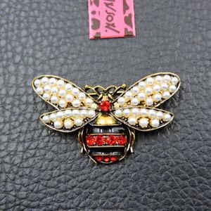 Red Crystal Enamel Cute Pearl Bee Betsey Johnson Charm Brooch Pin Gift