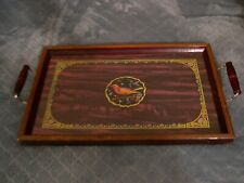 Vintage Wood & Glass Serving Tray