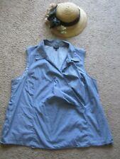 Talbots cotton Dark Blue White Polka Dots Sleeveless Faux Wrap Collared Top 18 W