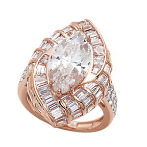7.20 Ct Marquise Simulated Diamond Cluster Wedding Ring in 14k Rose Gold Finish